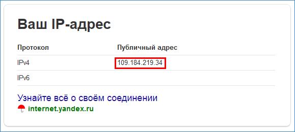 Данные IP-адреса в поисковой системе Яндекс
