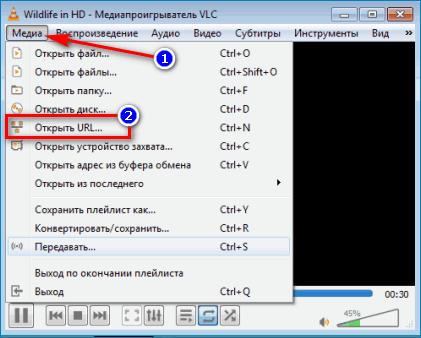 Медиа--Открыть URL в VLC
