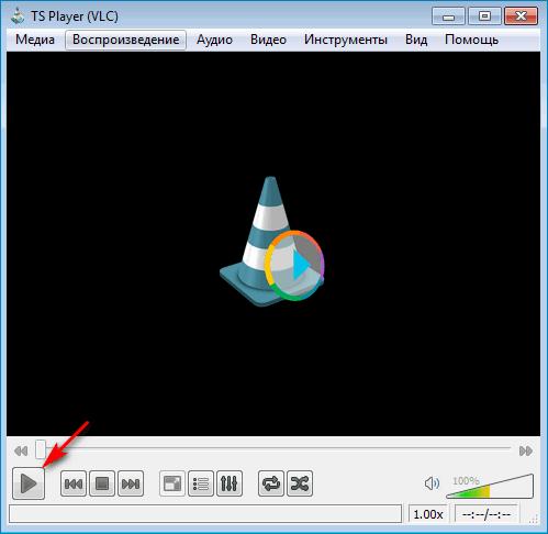 Нажатие кнопки Воспроизвести в VLC TS