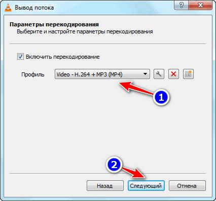 Параметры перекодирования VLC Media Player