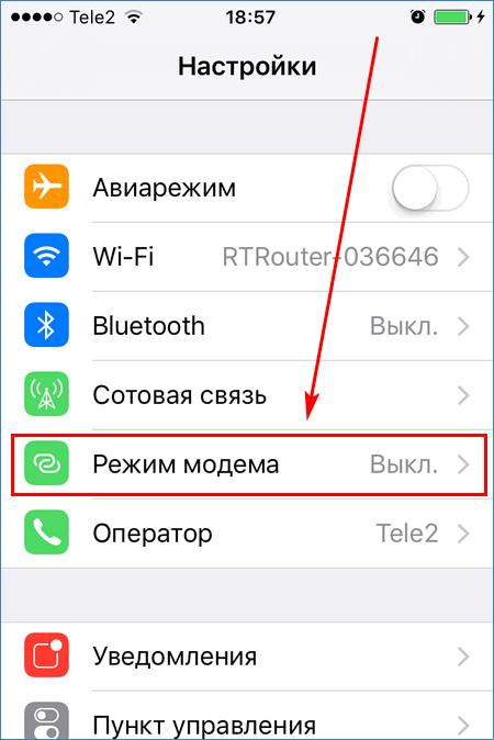 Пункт настроек Режим модема на iPhone