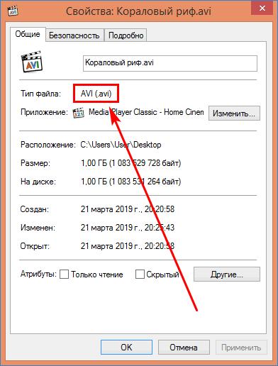 Тип файла после сохранения через Муви Мэйкер