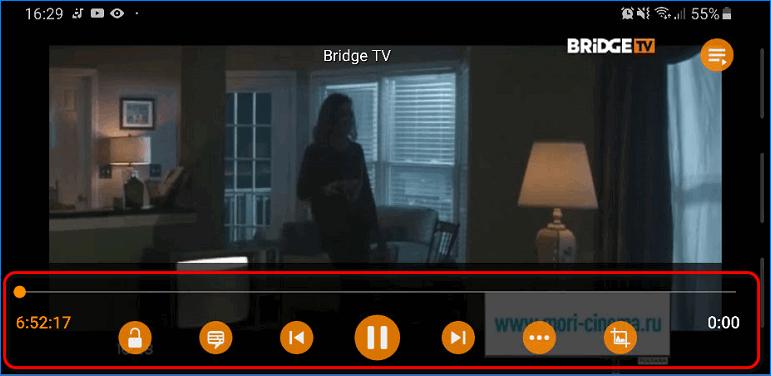Вызов панели управления в мобильном приложении VLC